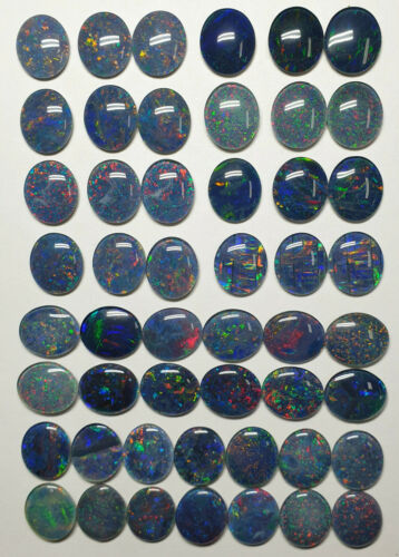 50 Pcs 14 x 12 mm Oval Cut Opal Triplets Made in Australia from Natural Opal