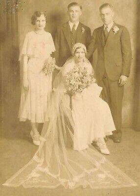 c1920 Sepia Wedding Portrait, Bride, Groom, Maid of Honor and Best Man, (Best Man And Maid Of Honor)