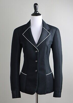 GIORGIO ARMANI Italy $3895 Mesh White Piped Black Blazer Jacket Top Size (Giorgio Armani Height)