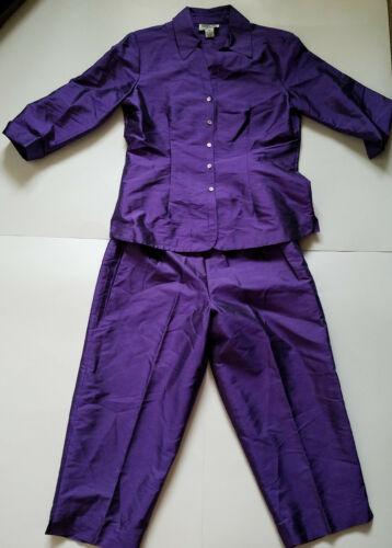 Robbie Bee Petite Purple Silk Blouse Top and Pants 2 Piece Set Size 10