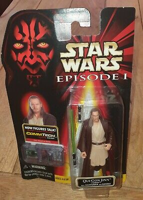 NEW ON CARD STAR WARS EPISODE 1 QUI-GON JINN FIGURE IN NABOO COSTUME BY HASBRO
