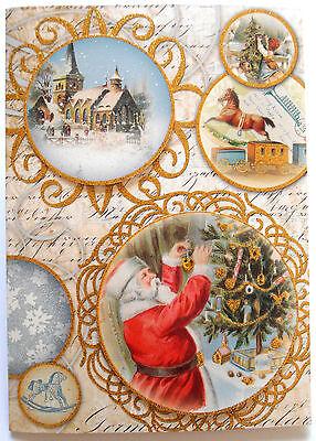 One  1  Punch Studio Large Dimensional Card Xmas Tree Church Gold Vintage Santa