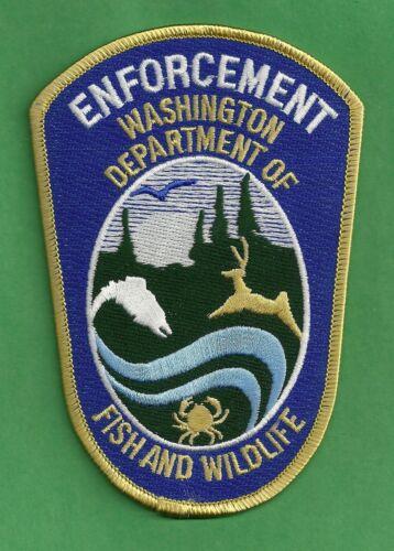 WASHINGTON STATE FISH AND WILDLIFE  ENFORCEMENT SHOULDER PATCH BLUE