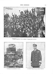WWI Zeebrugge Cruiser Vindictive à Douvres Royal Navy Admiral Keyes ILLUSTRATION
