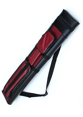 2x2 Hard Pool Cue Billiard Stick Carrying Case, Red-Black