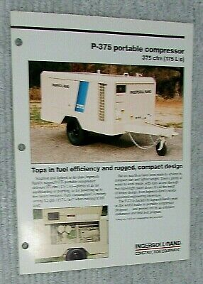 Vintage 1989 Ingersoll Rand Portable Air Compressor P-375 1 Pg Brochure Free Sh
