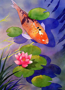 ACEO Limited Edition Giclee Print Of Original Watercolor Painting  KOI POND