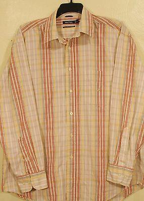 NAUTICA Cotton Long Sleeve Button Front Men's Shirt XL Excellent Condition
