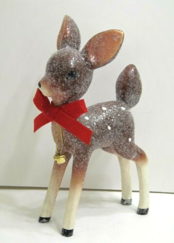 "Retro Style 9.5"" BROWN Spotted Deer Reindeer Figurine Christmas Glitter & Bell"