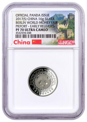 2017-(S) China Berlin Fair Panda Concve Piedfort 16g Silver NGC PF70 ER SKU47050