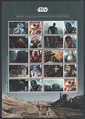 Smiler Sheet Great Britain 2017 - Star Wars: Droids, Aliens...- SG LS106 - Mint