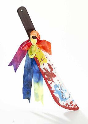 Bloody Knife (Plastic Bloody Clown Machete Knife Killer Clown Weapon Prop 19.5 Inches)