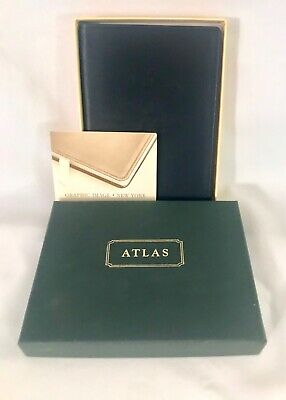World Map Atlas Soft Leather Cover Book Graphic Image NIB Black Embossed