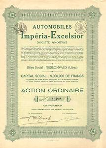 Automobiles-Imperia-Excelsior-SA-accion-enero-1928-Siege-Nessonvaux