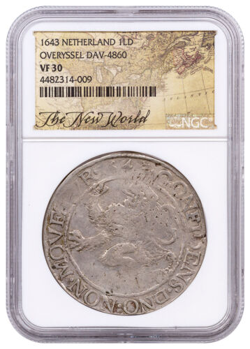 1643 Netherlands Silver New York Lion Dollar NGC VF30 Exl New World Lbl SKU52855