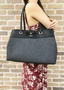 Kate Spade Henderson Street Fabric Maryanne Large Tote Shopper Charcoal Gray