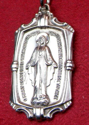 LAST Early RETIRED Creed Sterling Miraculous Medal Crucifix Scapular 11 GRAMS