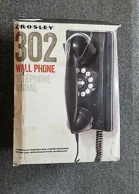 Crosley 302 Vintage Wall Phone, CR55 Black, New, open box, SHIPS FREE