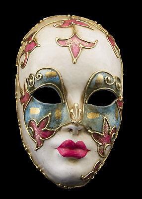 Mask Venice Face Volto Pink Blue Paper Mache Gold embellishment 1758 VG10