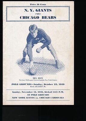 bfd40bf8deb Sid Luckman 1st NFL TD Pass - EX PLUS 10 22 1939 Bears   NY Giants NFL  Program