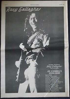 Vintage RORY GALLAGHER Press Advert / Poster for UK Tour April 1978