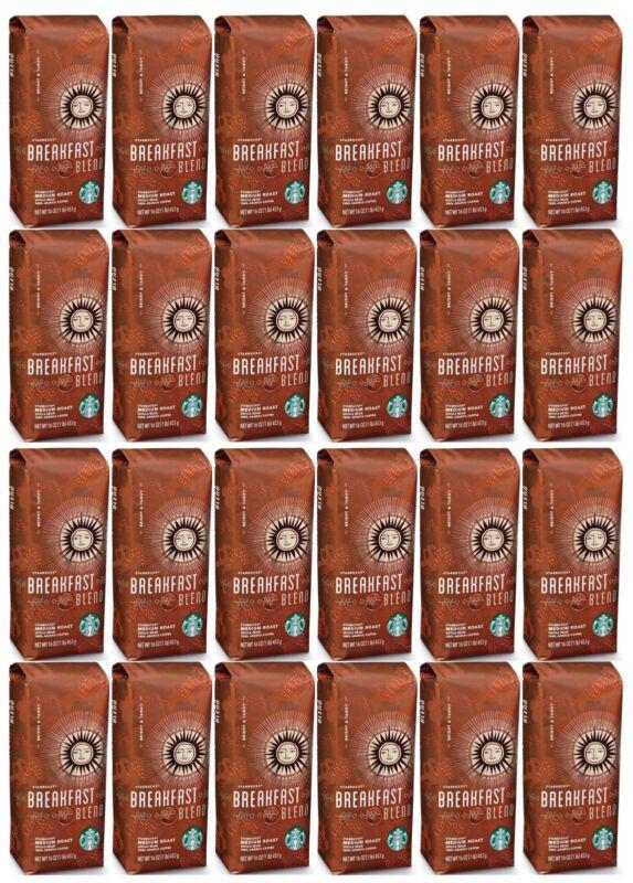 24 Pack Starbucks Breakfast Blend Medium Roast Ground Coffee 16 Oz Each BBD 8/20