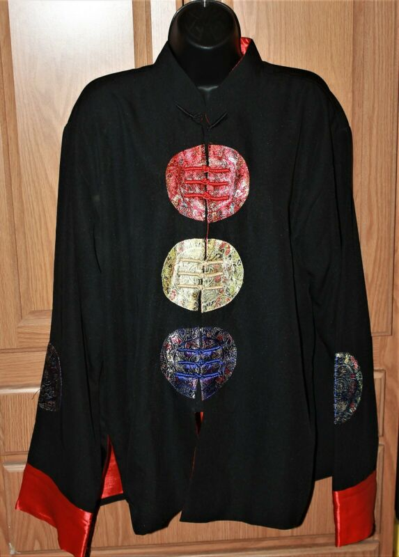 Kuan Silk Oriental Asian Jacket Frog Knot Circles Design Size XL Gorgeous!