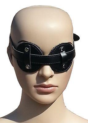 Bondage Leder Augenbinde Augenmaske Maske schwarz mit Pelz