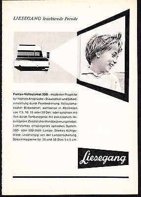 3w876/ Alte Reklame - von 1961 - Diaprojektor LIESEGANG Fantax-Vollautomat 500