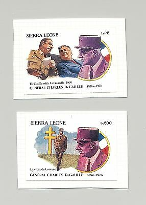 Sierra Leone 1991 DeGaulle 2v Imperf Essays on Cards