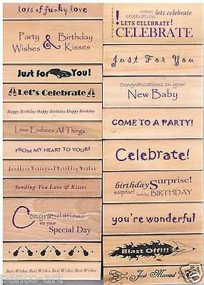 Wood rubber stamp Birthday Married Celebrate Love For you Party Best wishes