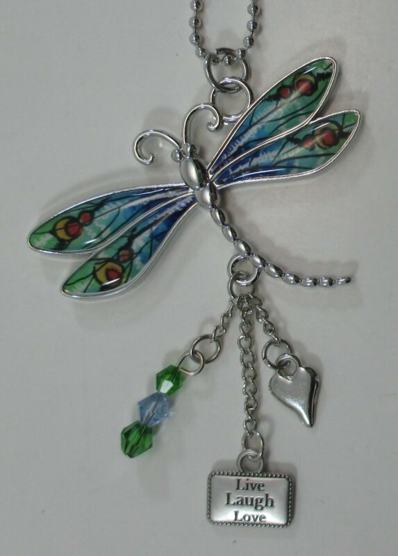 zzw Life laugh love LIVE with gratitude DRAGONFLY CAR MIRROR CHARM ORNAMENT ganz