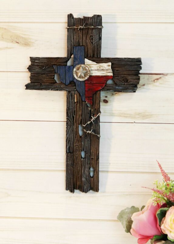 Rustic Western Star Texas Flag With Barbed Wires Faux Distressed Wood Wall Cross