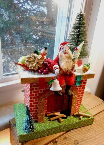 Vintage Japan Santa on a Music Box Fireplace that Lights Up