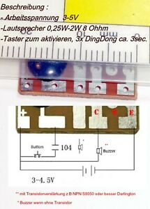 DIY Audio- // Klangschaltung Ding-Dong Türklingel Bausatz .. Pcb. + Buzzer