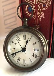 "Clock Pocket Watch Heavy Weight Metal 4"" Wide Works Good"