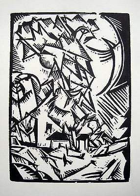 "Georg Tappert ""Landschaft I"" Haus mit hohem Baum Original-Linolschnitt 1918"