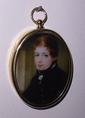 Portrait Miniature of young naval midshipman in Georgian style oval brass frame
