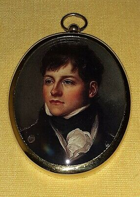 Portrait Miniature of handsome young naval officer in oval brass frame