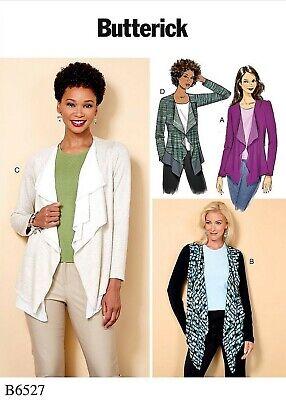 Butterick B6527 Cascade Collar Jacket Top Sewing Pattern Plus Sz L-XXL 16-26 FF