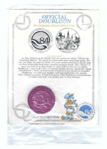 1984 LOUISIANA WORLD FAIR EXPOSITION OFFICIAL DOUBLOON COIN ORIGINAL LABEL