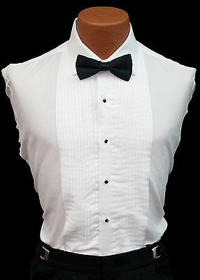 New Men's White Tuxedo Shirt Wing or Laydown Collar Standard Cuffs Pleated (Pleated Front White Wing)