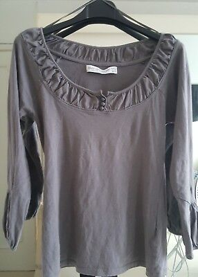 blouse top pull coton gris taupe Zara Coll. beaux détails coquet S Etat neuf