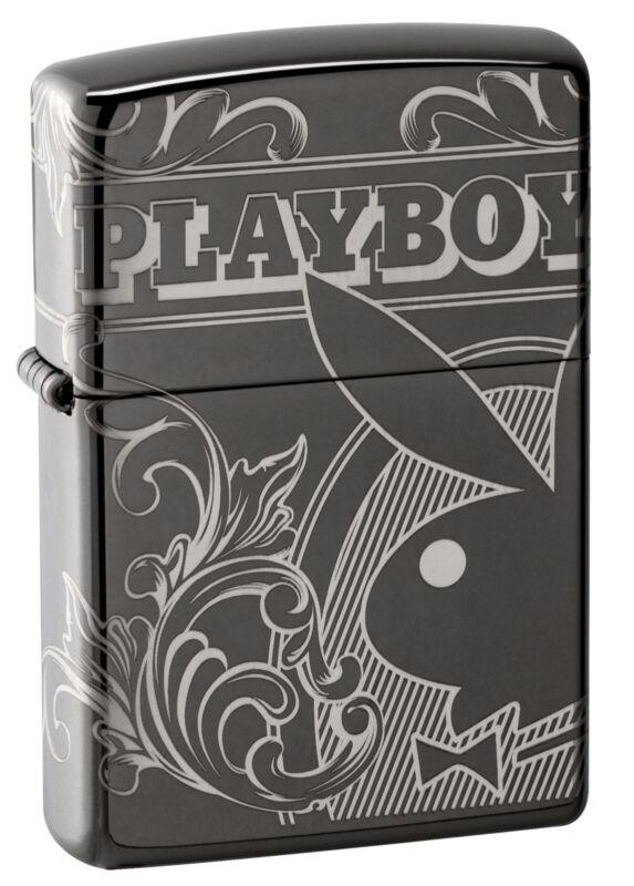 Zippo Playboy Laser 360° Design Black Ice Windproof Pocket Lighter, 49085
