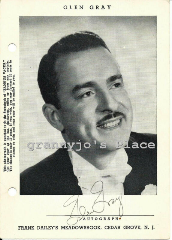1940  Signed  Photograph of Big Band Leader, Glen Gray at Meadowbrook Ballroom