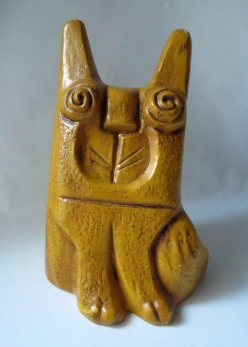 Vintage Bank MCM Mod Eames Yellow Animal Cat Dog Spiral Eyes Calif USA Unusual