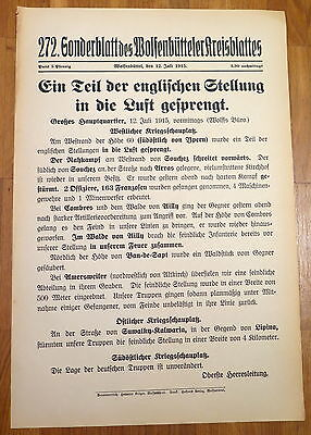 Militaria Zeitung Wolfenbüttel 1.Weltkrieg 12.7.1915 Ypern Altkirch Lipina