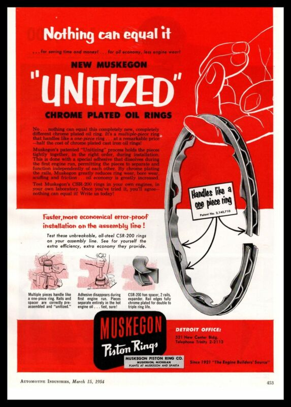 1954 Muskegon All-Steel CSR-200 Piston Rings Sparta Plant Vintage Print Ad