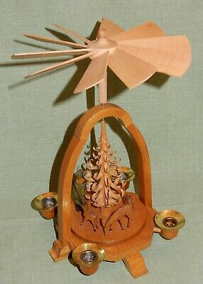 Pyramid Forest Scene Hunter with Deer Original Folk Art Erzgebirge GDR 1960