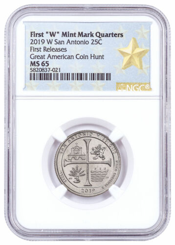 2019 W 25C Clad America Beautiful San Antonio Missions Quarter NGC MS65 SKU59315